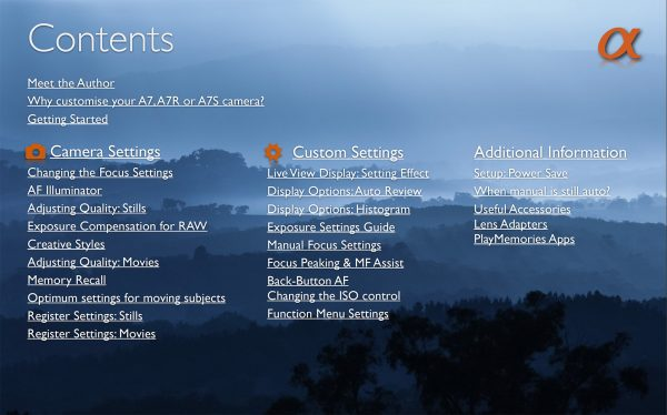 Sony Alpha A7 A7R Custom Camera settings