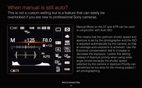 Sony Alpha A7 A7R Custom Camera settings