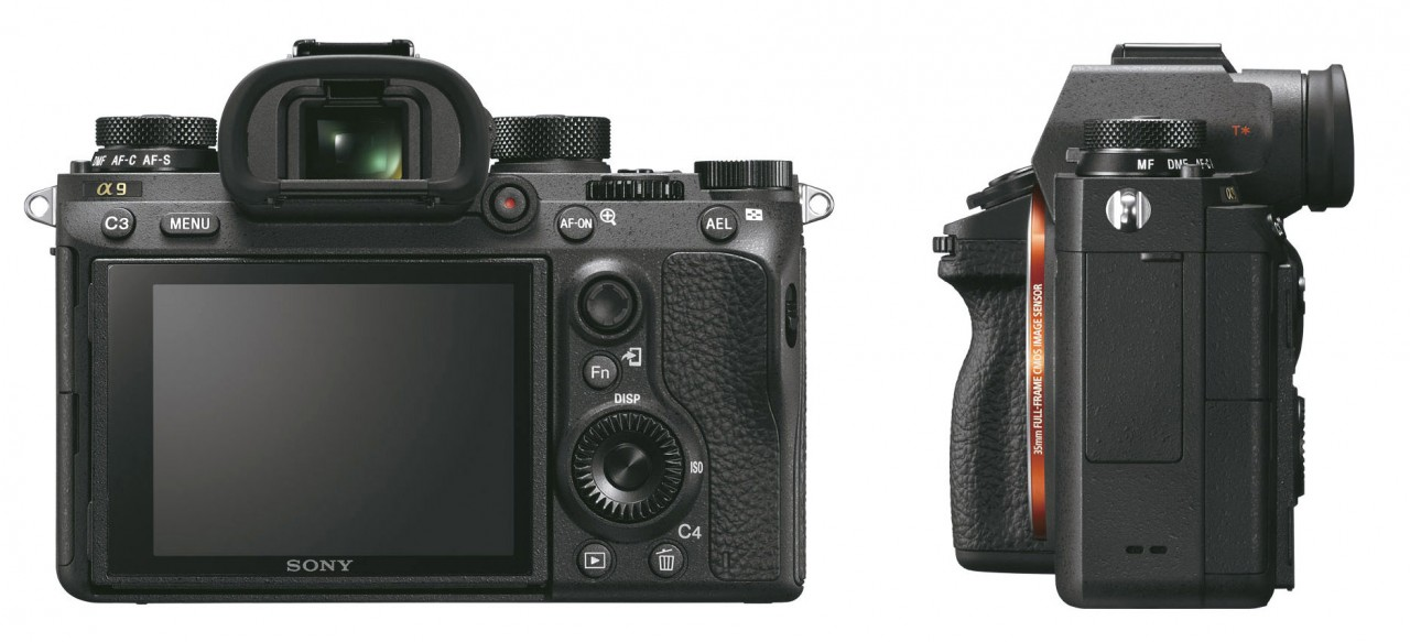 The side and back view of the α9 camera shows the new Drive and Focus Mode dial on the top of the camera, the relocated movie button, dual card drive bay and AF-joystick.