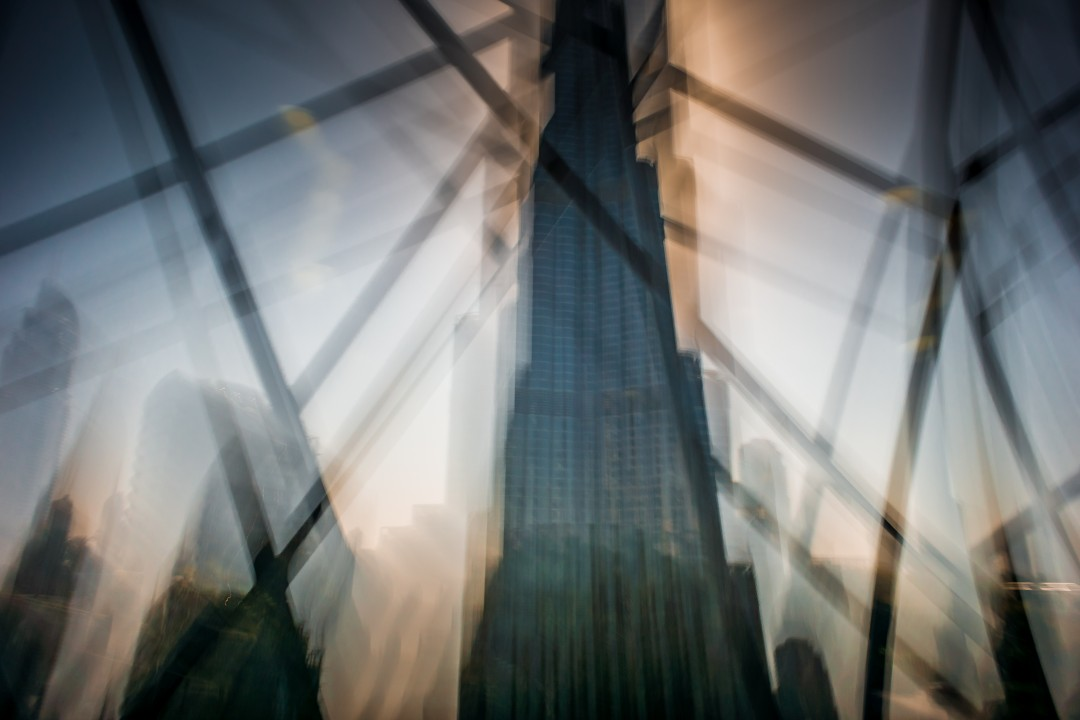 Timescape: Burj Khalifa. An exploration of the unfrozen moment. This image is from a series of timescapes where I make a conscious decision to not stop, freeze or break the flow of my movement through my surroundings. The images reflect my constantly shifting gaze and my uninterrupted momentum.